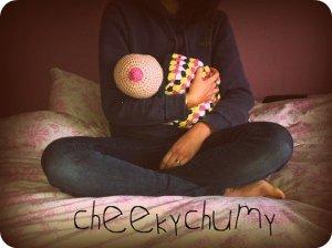 Crocheted Boobie Beanie Breastfeeding Hat by CheekyChumy