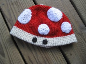 Mario Toad Beanie Hat by Stitched by My Hand