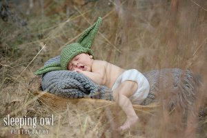 Newborn Yoda Hat by The Owl Tree Knitting Co.